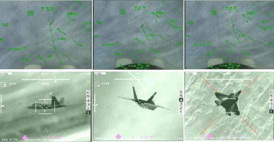 F-22 observé par l'OSF d'un Rafale